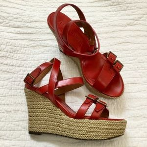 Burberry Leather Wedge Espadrille Sandals in Red